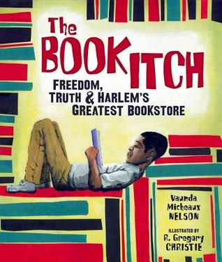 The cover of The Book Itch. Depicts a boy reading surrounded by a stack of books.
