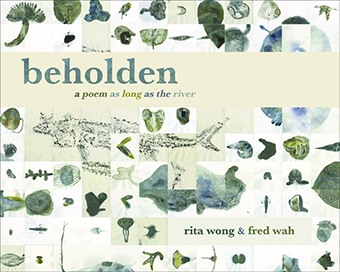 Image Description: Cover for beholden: a poem as long as the river]