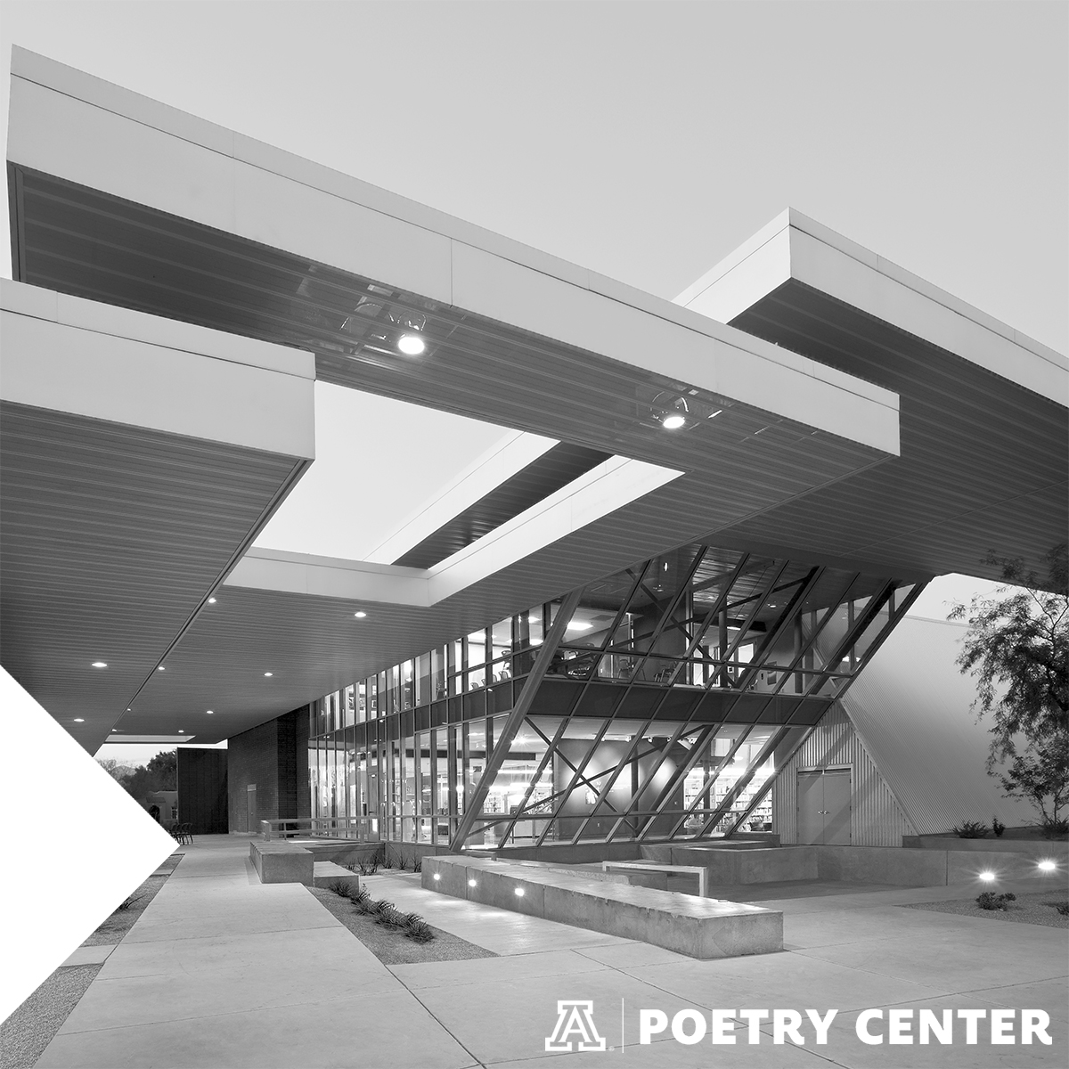 Black and white image of the Poetry Center