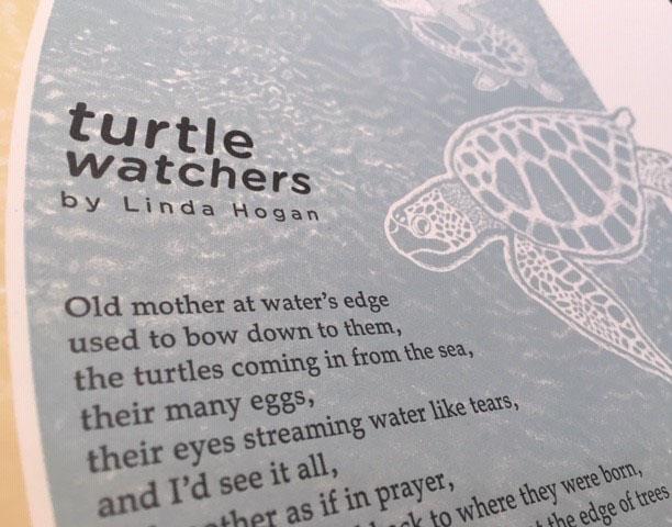 Detail of broadside: Linda Hogan's Turtle Watchers