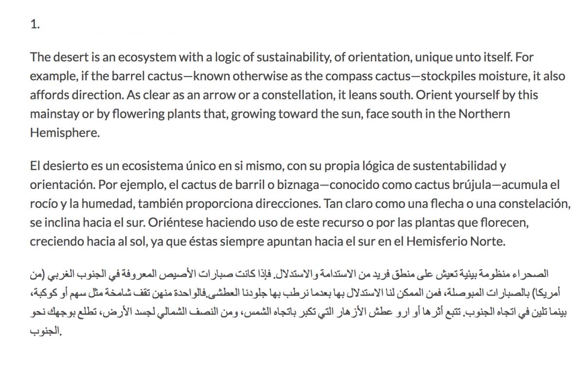 "Border crossing instructions in English, Spanish, and Arabic--part of ""The Desert Survival Series/La serie de la sobrevivencia del desierto."" Read an excerpt of the collaborative project here"