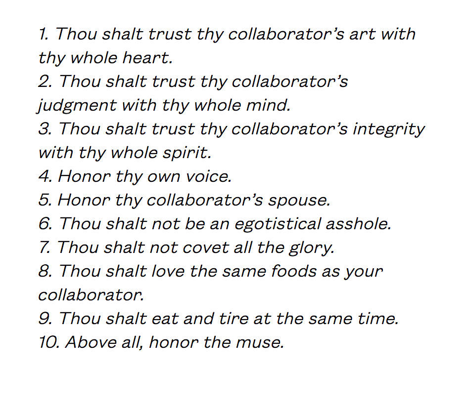 Maureen Seaton and Denise Duhamel's Ten Commandments of Collaboration read the piece (here)
