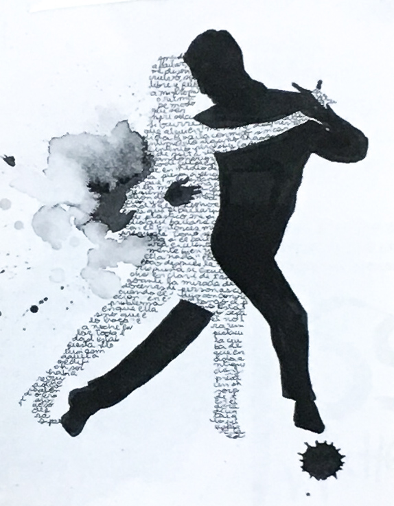 Image of a woman and a man dancing. The shape of the woman's body is created by a layout of handwritten words.