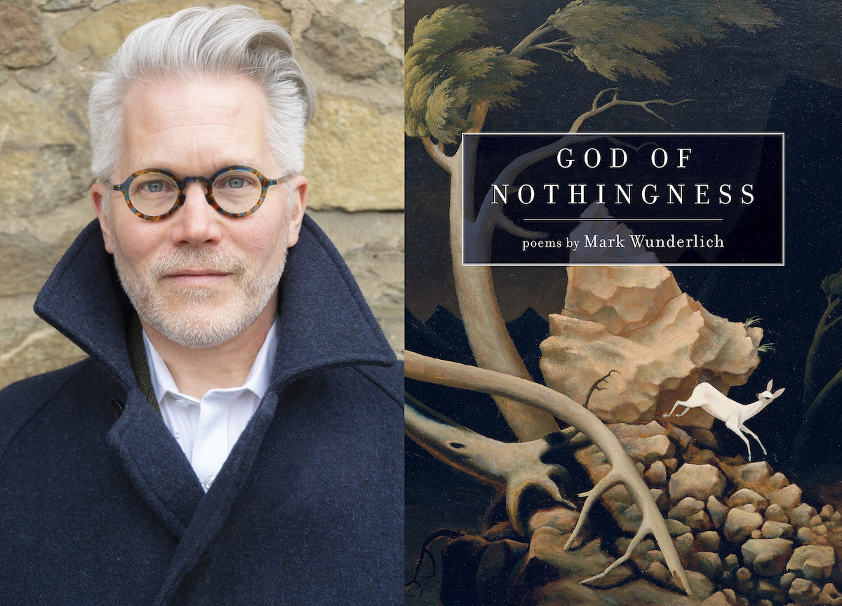 """photo of Mark Wunderlich & the cover of """"God of Nothingness"""""""