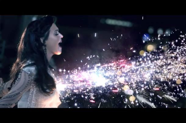 Fireworks artistically explode from Katy Perry's chest