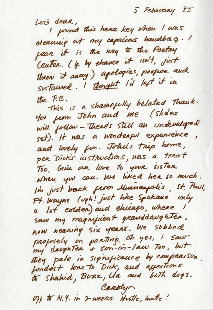 Handwritten letter by Carolyn Kizer to Lois Shelton dated 1985