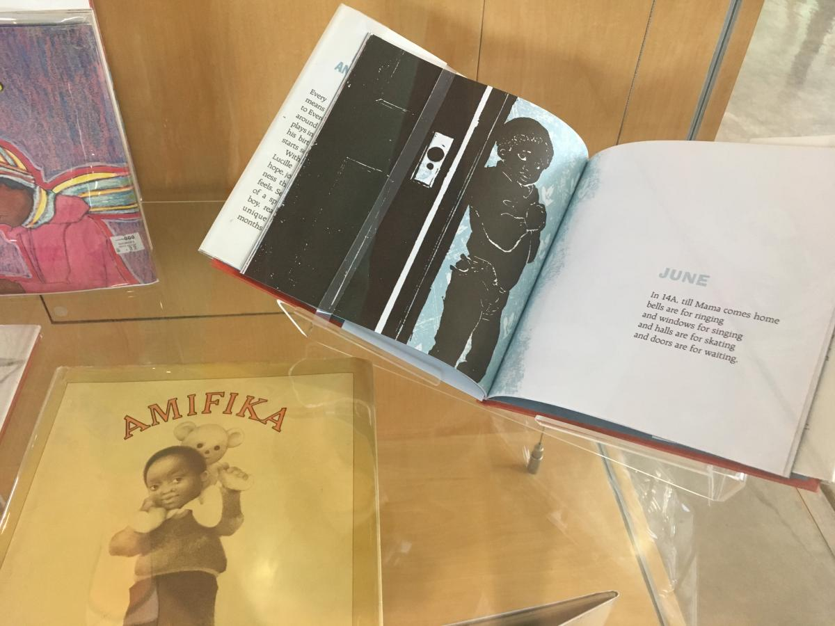 Detail of Everett Anderson's Year and cover of Amifika by Lucille Clifton