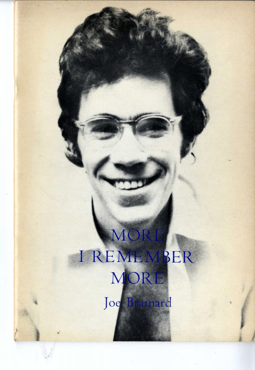 The front cover of Joe Brainard's More I Remember More, with a black and white photograph of the author.
