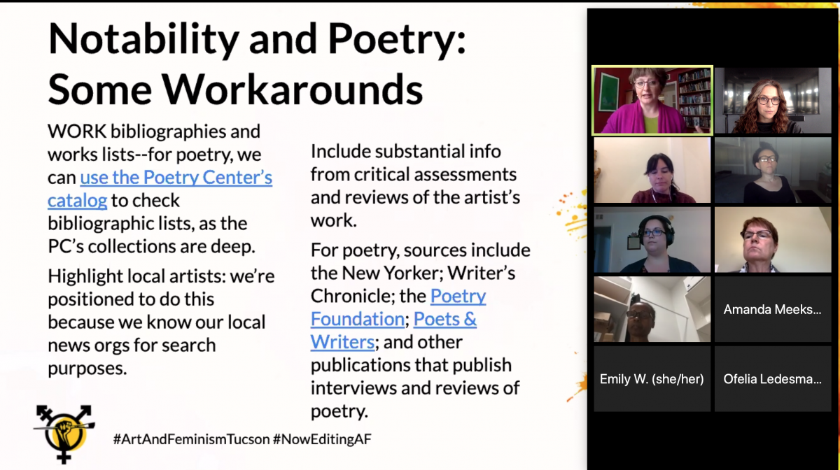 """Screenshot of a Zoom meeting featuring strategies for establishing """"notability"""" in poetry articles, including resources like the Poetry Center catalog, online publications and websites, and local news sources."""