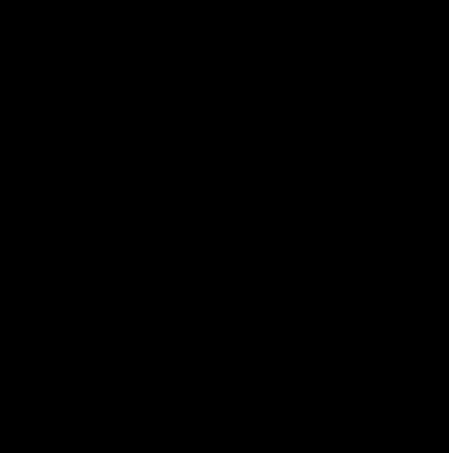 A stencil of a raised fist gripping a pencil