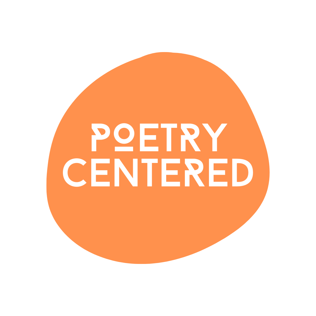 Poetry Centered logo, words in an orange circular shape