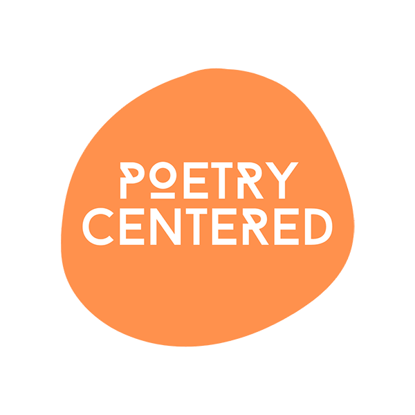 Poetry Centered logo, text in an orange circular shape