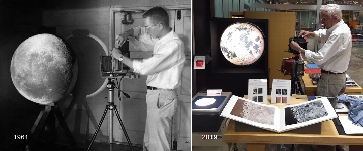 On the left, a man stands next to an image of the moon projected onto a large sphere in 1961; on the left, the same man recreates the image in 2019.