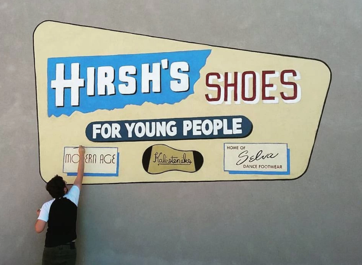 Hirsch's shoes mural by Alleycat