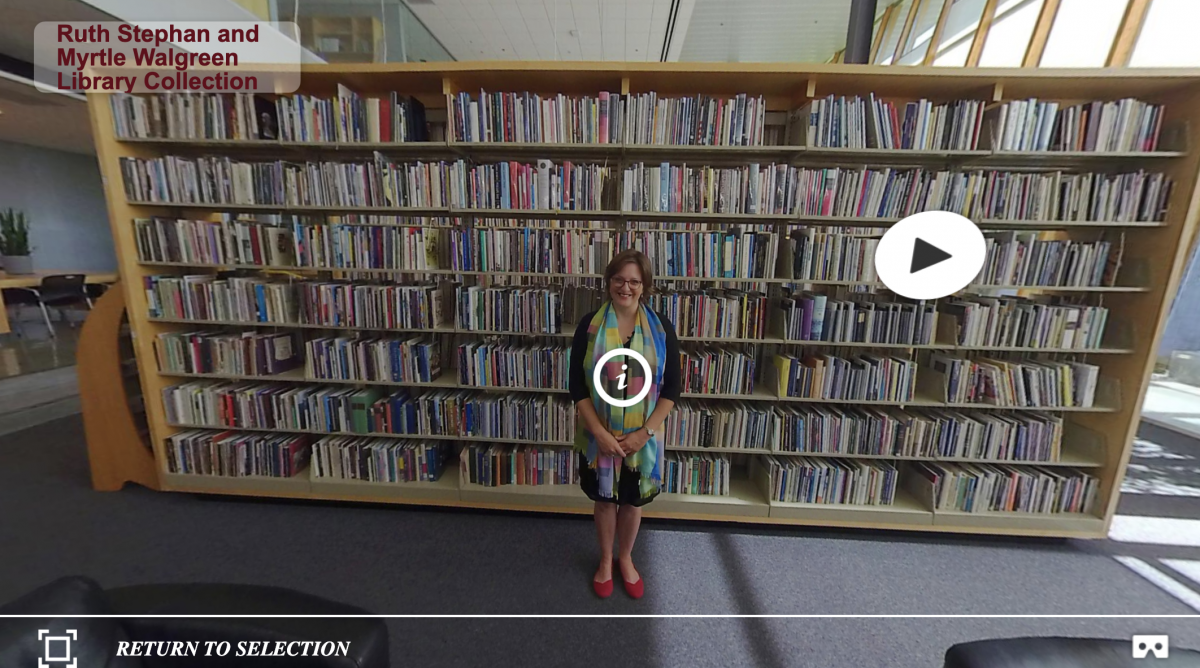 bookshelves full of books in the center stacks of the Poetry Center library as seen in our 360 Interactive Tour