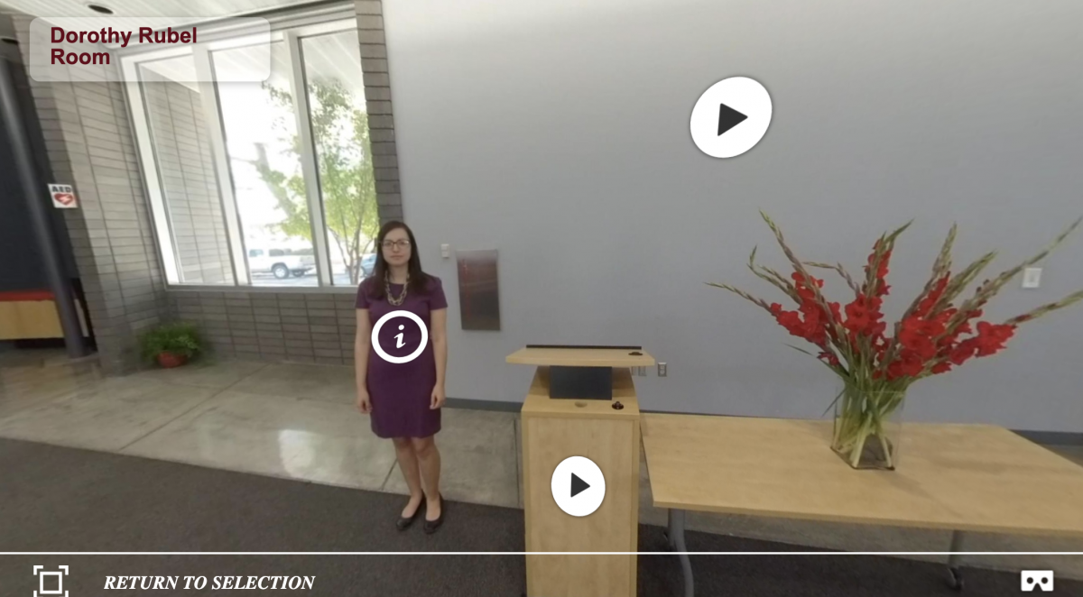 Screenshot of the podium in the Rubel Room from our 360 Interactive Tour