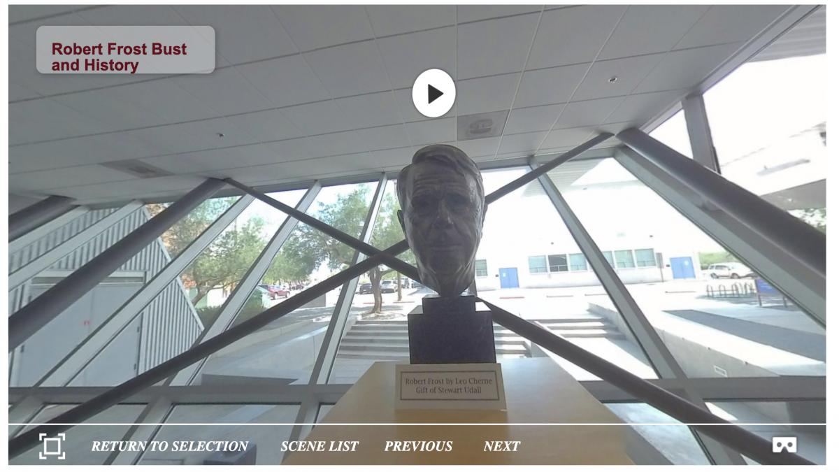 bust of Robert Frost from a still of the Poetry Center's 360 Interactive Tour