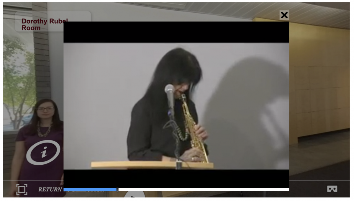 Screenshot of Joy Harjo playing an instrument from our 360 Interactive Tour
