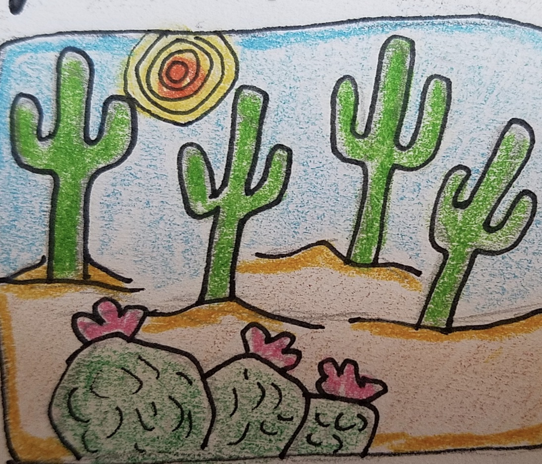 Drawing of saguaro and barrel cactuses in the desert
