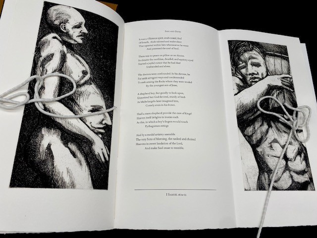 A page spread from Seance for a Minyan, with a poem in the center of a triptych, flanked by two black and white images.