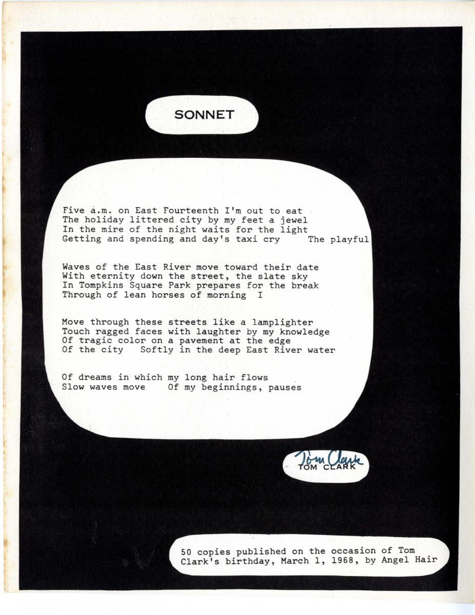 """A broadside presentation of Tom Clark's poem """"Sonnet."""""""