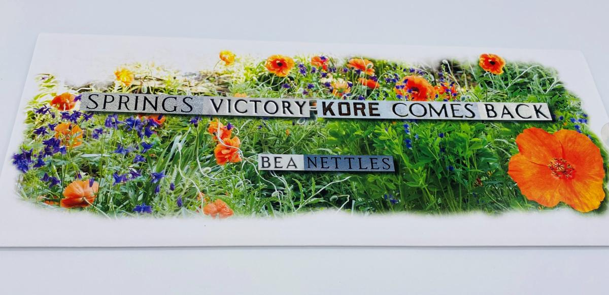 "A book cover with orange, purple, and yellow flowers around the words ""Springs Victory"""