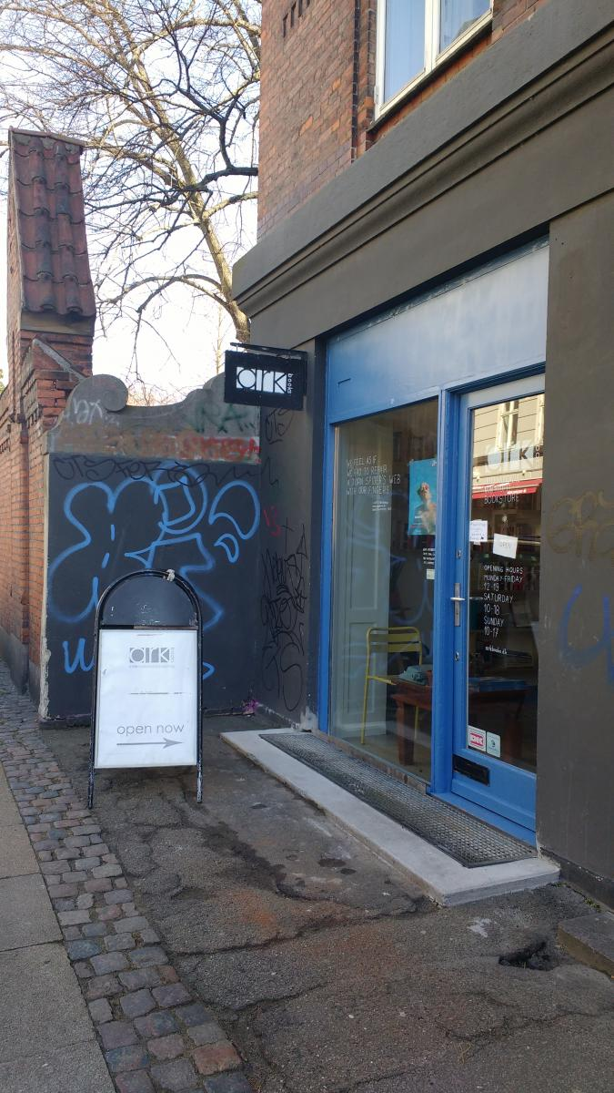 Street shot of Arkbooks bookstore in Copenhagen