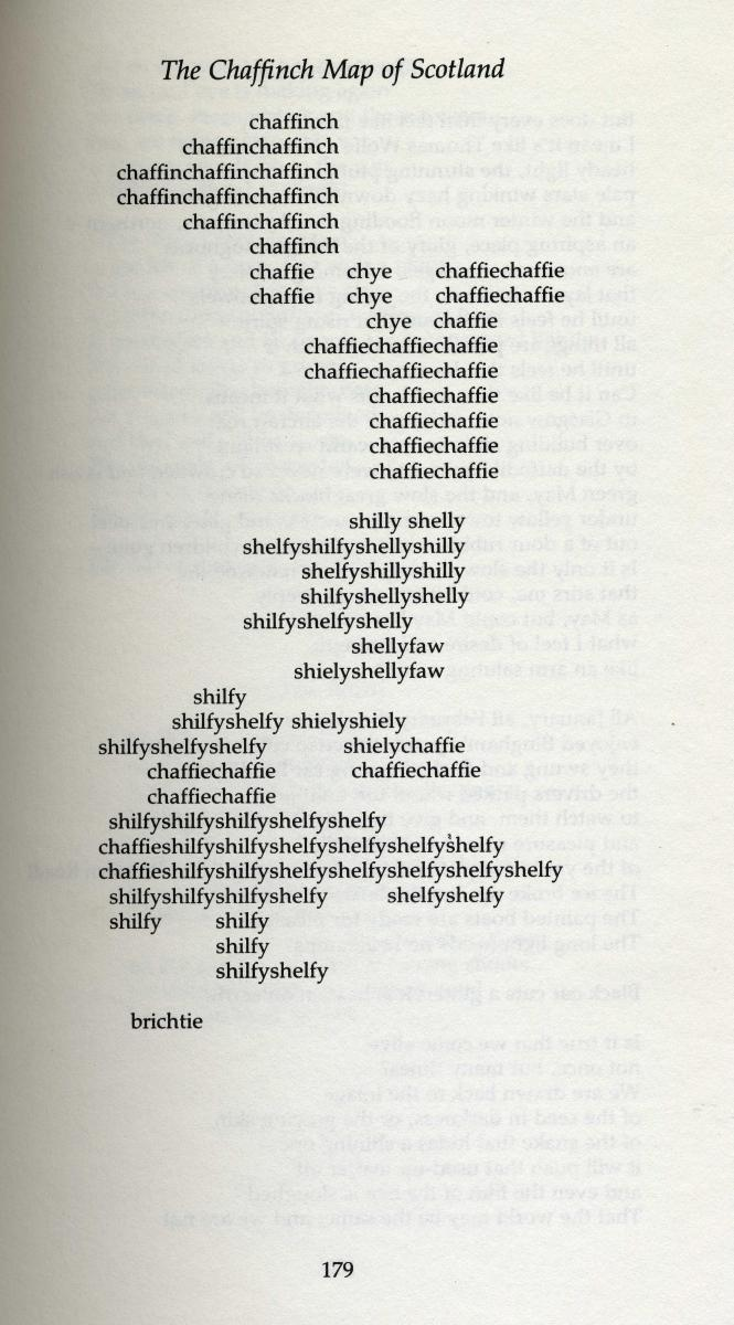 Text of a poem whose words form a rough outline of Scotland.