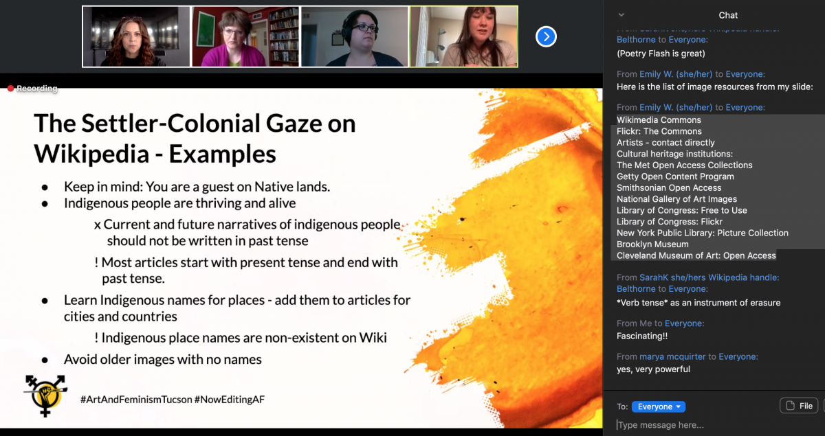Screenshot of a slide featuring tips for disrupting the settler-colonial gaze on Wikipedia, including advice to use the present tense to refer to Indigenous peoples, use Indigenous place names, and exercise caution in the use of older photographs on Wikipedia (because of potential permissions issues).