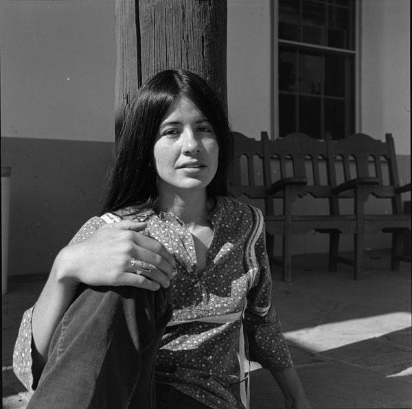 Joy Harjo, 1975. Photograph by LaVerne Harrell Clark. Courtesy of The University of Arizona Poetry Center. Copyright Arizona Board of Regents.