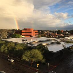 photo of rainbow over Poetry Center by Patri Hadad