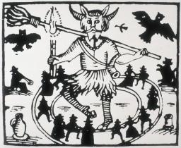 The hobgoblin Robin Goodfellow dances, surrounded by witches
