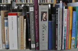 Poetry books on a shelf at the UA Poetry Center