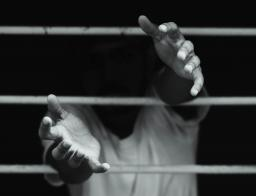 hands reaching through bars