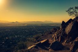 view of Phoenix, Arizona from a mountaintop
