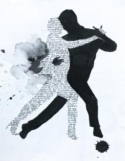 An image of a man and a woman dancing. The outline of the woman's body is traced using handwritten words.