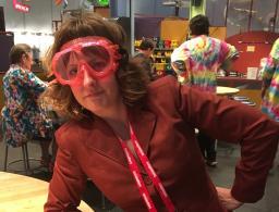 Sarah Kortemeier in goggles at IFLA, 2016