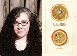 photo of Jessica Guzman next to an image of the cover of her book, Adelante