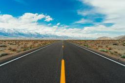 Desert road with a blue sky / photo by Meriç Dağlı