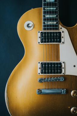 Closeup of an electric guitar by Mikkel Bech