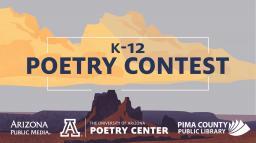 poetry contest logo, featuring a desert landscape