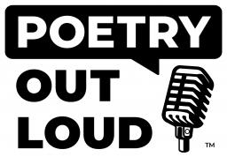 Poetry Out Loud logo with a microphone