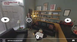Inside of the Lois Shelton Poets' Cottage as seen in our interactive 360 tour