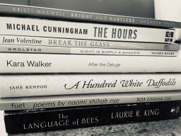 Image of books stacked on top of each other to create a spine poem