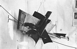 """A black and white photo of a metal sculpture, """"counter-corner relief"""""""