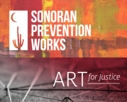 Sonoran Prevention Works and Art for Justice logo against red backgrounds