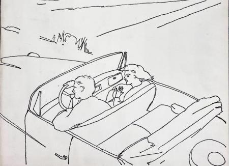 Detail of the cover of Angel Hair Magazine, no. 6. Features a line-drawn black and white illustration of a man and a woman driving through the countryside in a convertible.