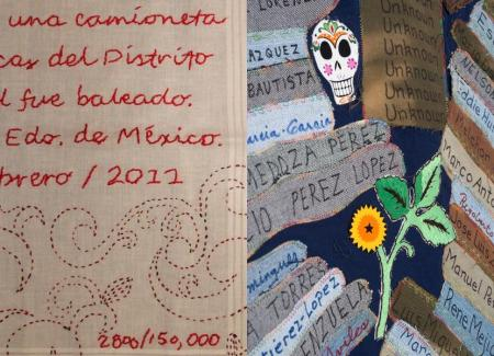 Fuentes Rojas pañuelo and 2004-2005 Migrant Quilt Project quilt