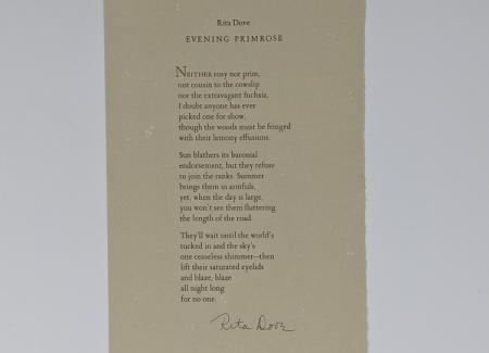 "broadside of Rita Dove's ""Evening Primrose"""