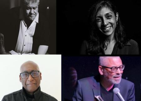 composite of headshots of poets Luis Rodriguez, Luivette Resto, Michael Warr & Peter J. Harris